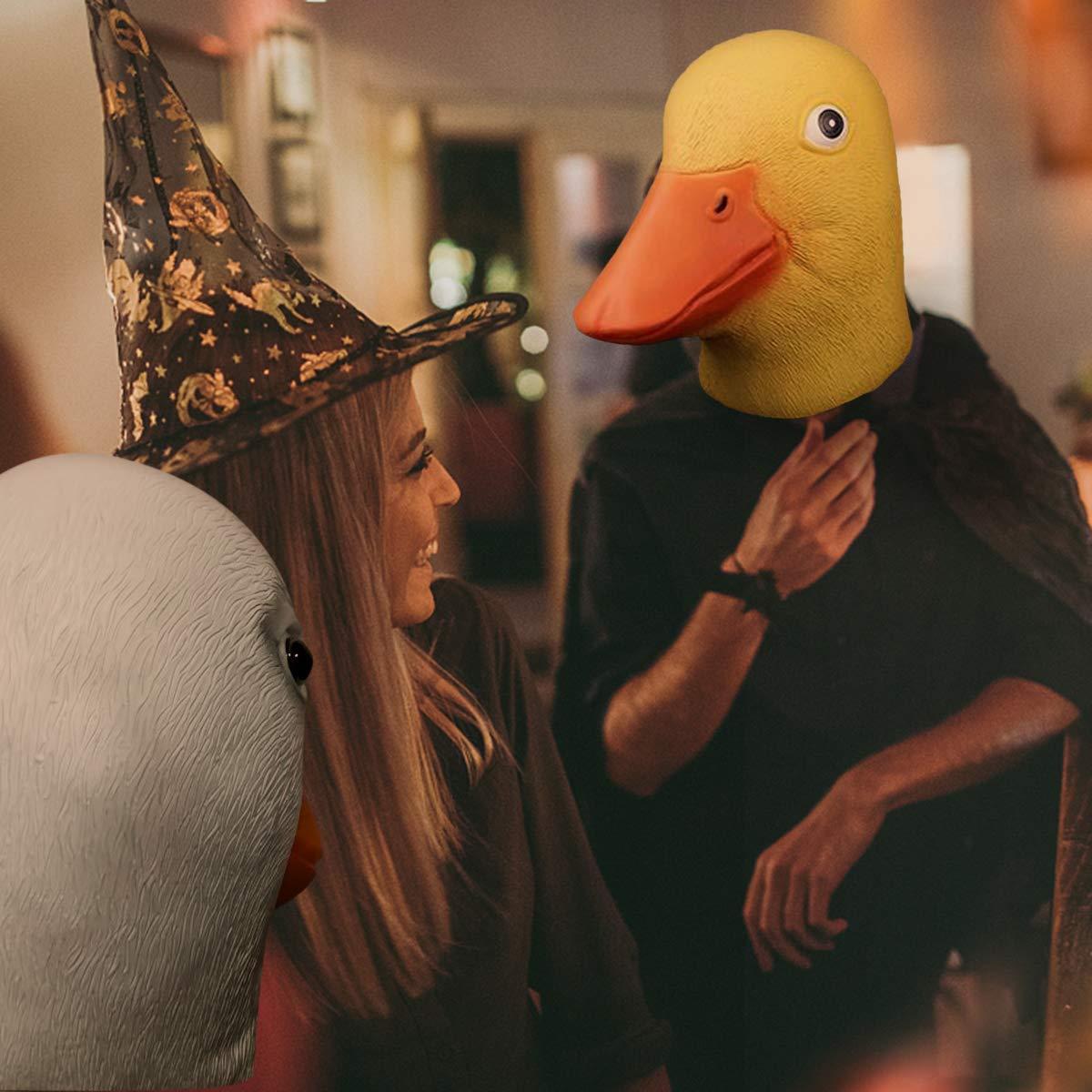 Amarillo Surenhap M/áscara de Pato de l/átex de Halloween Halloween Divertido para Halloween Traje de Navidad Cosplay