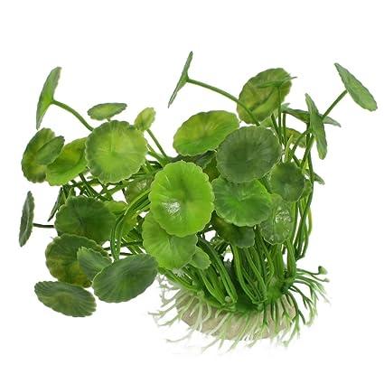 """sourcing map Pecera Decoración 5.5"""" altura verde oscuro Emulatioanl Lotus hojas de Plantas de tratamiento"""