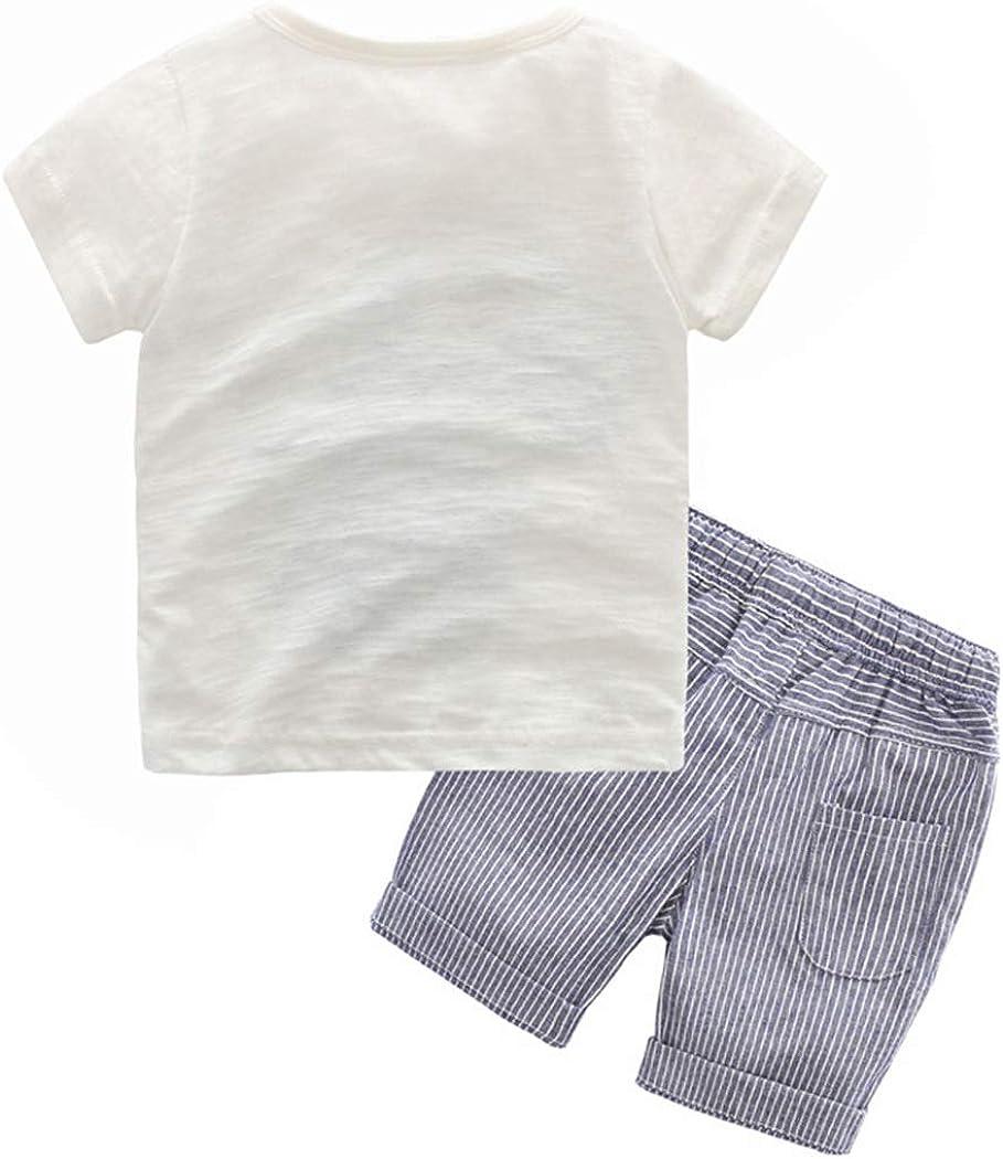 FCQNY T-Shirt in Cotone Dinosauro a Manica Corta Estiva Bimbo da Bambino Tops Shorts con Coulisse