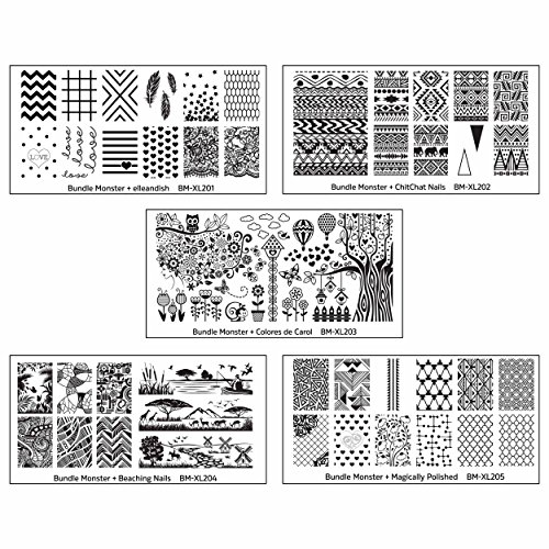 Bundle Monster 5Pc Blogger Collaboration Nail Art Polish Stamping Plates   Set 1