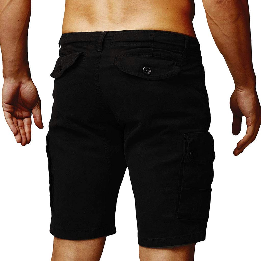 Cobcob Men s Loose Shorts,Male Summer Solid Beach Pant Training Plus Size Zipper Pockets Short Pant