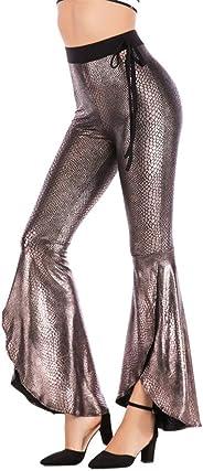 YSJERA Women's Elastic Waist Bell Bottom Ruffle Flare Long Pants Casual Trousers