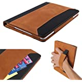 KVAGO iPad Air 2 Case, Premium Genuine Leather Protective Cover with Hand Strap Stand up Flip Magnetic Sleep Wake Smart Case Sleeve for Apple iPad Air 2 9.7 inch 2014 iPad Air 2nd Generation Brown