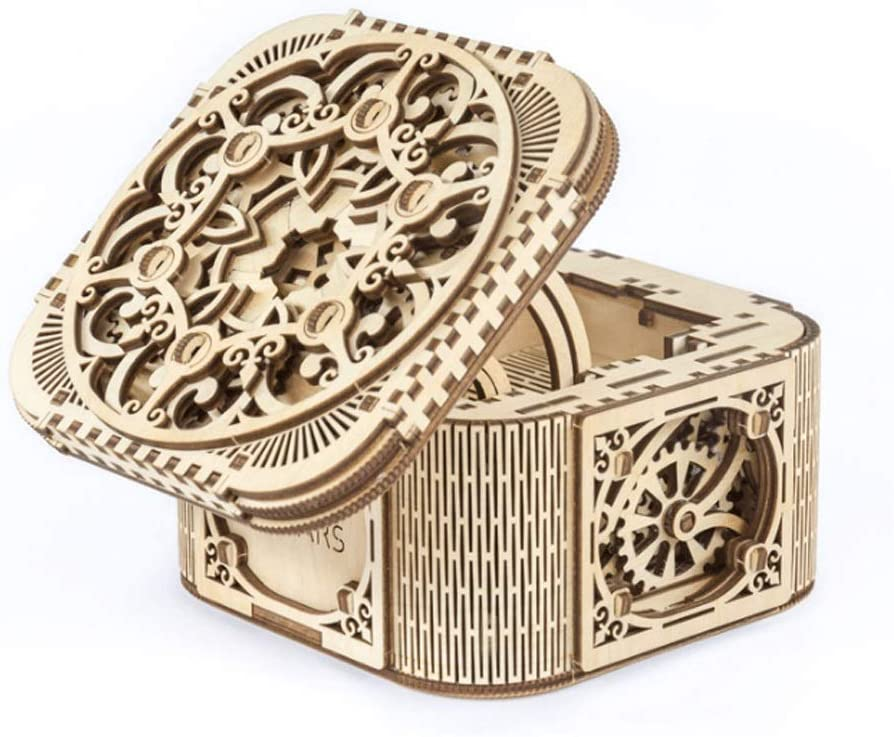 GLOOPE Modelo de Madera de la Caja del Tesoro del Rompecabezas 3D, Traje Hecho a Mano Adulto de la Caja del Tesoro del órgano, Regalo Femenino Ideal: Amazon.es: Hogar