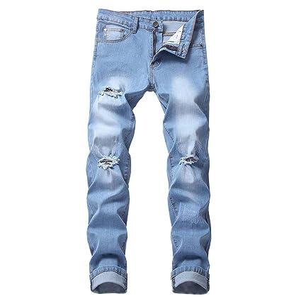 328b88cd410d73 Amazon.com: NUWFOR Men's Fashion Makes Old Personality Hollow Jeans Pure  Color Pants(Blue,US:35 Waist:36.22