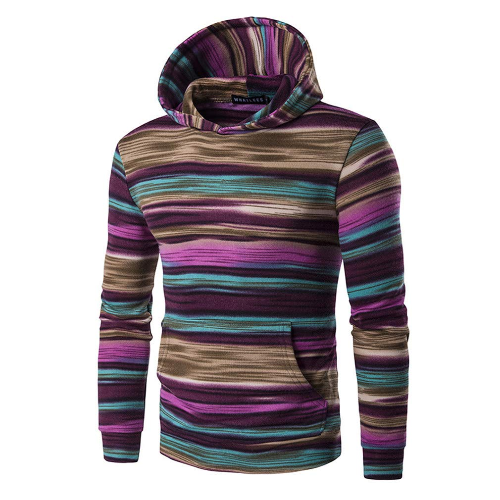 Usopu Mens Casual//Daily Sports Colored Striped Color Block Long Sleeve Hoodie