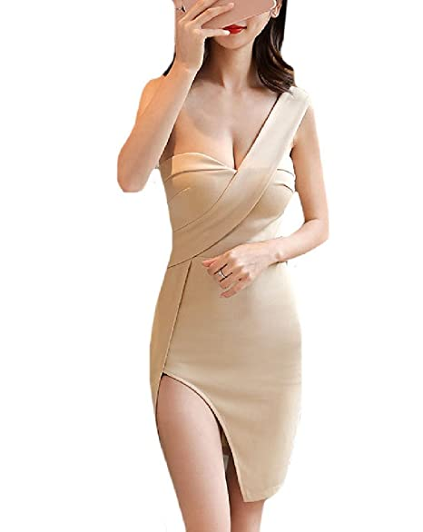 Coolred-Women Sexy Split One Shoulder Off Cut Out Back Tight Club Mini Dress  1 c21a3c609