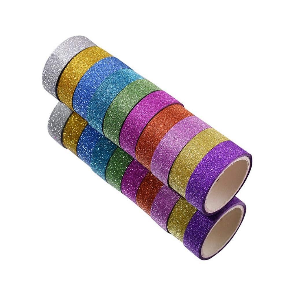 10PCS del brillo Washi Cintas adhesivas de la cinta adhesiva DIY decorativo /álbum de recortes de fotos en color de enmascarar los efectos de escritorio Suministros de la Escuela de cinta de oficina