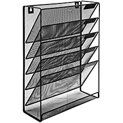 MyGift Wall-Mounted Black Metal 6-Slot Magazine Rack/Document Organizer