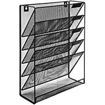 Wall-Mounted Magazine Rack, 5 Slot Hanging Document Filing System, Black