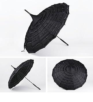 Boda con rojo mango largo paraguas novia pagoda paraguas de encaje versión coreana sombreado soleado paraguas