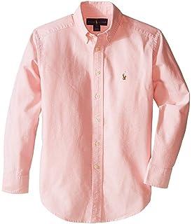 d98e1f49bb2 Polo Ralph Lauren Kids Solid Oxford Shirt Big Kids Pink Boy's Long Sleeve  Button Up