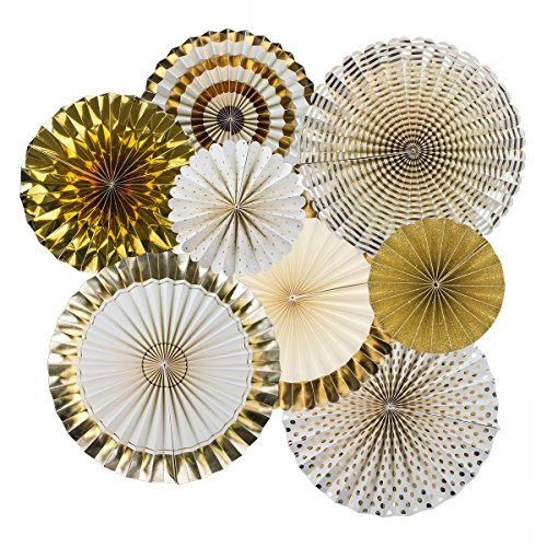 Ipalmay Decorative Fan, Hanging Gold Paper Fans, Party Decorations Kit Gold, Set of 8