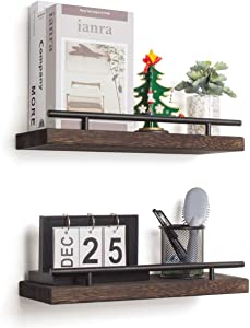 AKKO Floating Shelves for Wall, Set of 2 Rustic Wood Wall Mounted Storage Shelves, Perfect Home Decor for Bathroom, Farmhouse, Kitchen, Bedroom and Living Room