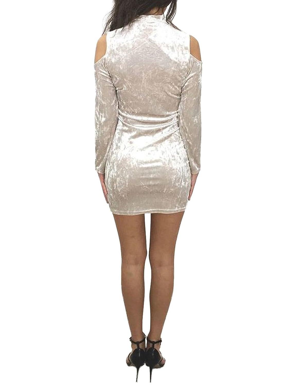 MuNiSa Women Long Sleeve V-neck Cut Out Short Party Bodycon Bandage Dress