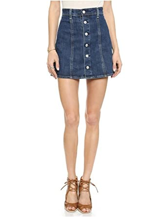 Dixperfect A Line Denim Mini Skirt with Button Through for Women ...