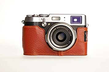 Handmade Genuine Real Leather Full Camera Case Bag Cover for FUJIFILM X100T Brown Color