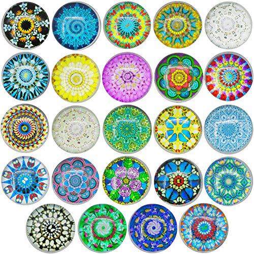 - 24 Pieces Glass Refrigerator Magnets Marvelous Flower Pattern Fridge Magnets Sets For Refrigerator Office Cabinets Whiteboards Photo
