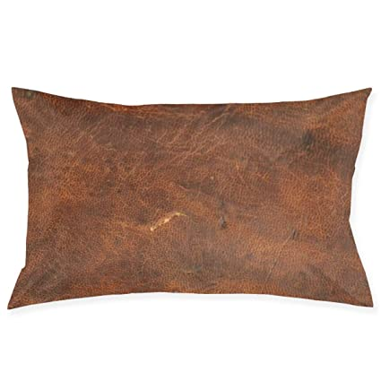 Amazon.com: Tontea Old Tan - Funda de almohada de piel de ...