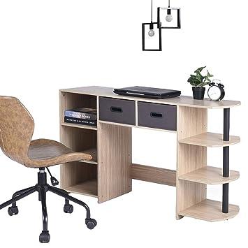Aingoo Mesa Escritorio Pequeño Casa Escritorio de la computadora portátil con Estante de Almacenamiento Estudio de