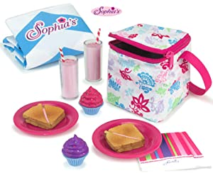 Sophia's Doll Food Picnic Playset of 12 Pieces, Thermal Cooler, Matching Picnic Blanket, 2 Pink Lemonade Glasses, 2 Plates, 2 Napkins, 2 Ham Sandwiches & 2 Cupcakes Perfect for 18 Inch American Dolls