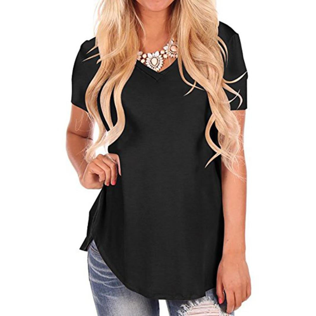 Lookatool Women's Short Sleeve V-Neck Irregular Hem Loose Casual T-Shirt Tops