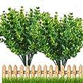 E Hand Artificial Plant Outdoor Uv Resistant Eucalyptus Leave Shrubs Plastic Fake Bushes Window Box Greenery For Home Indoor Garden Light Green Verandah Office Wedding Decor Wholesale 4 Pcs