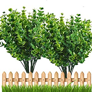 E-Hand Artificial Plant Outdoor UV Resistant Eucalyptus Leave Shrubs Plastic Fake Bushes Window Box Greenery for Home Indoor Garden Light Green Verandah Office Wedding Decor Wholesale - 4 PCS 25
