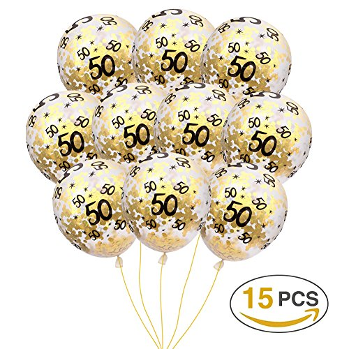 MeySimon 50th Birthday Decorations Gold Confetti Balloons Printed 50 Latex Balloon for 50 Year Old Happy Birthday Party Supplies (50th Confetti) (Printed Party Confetti)
