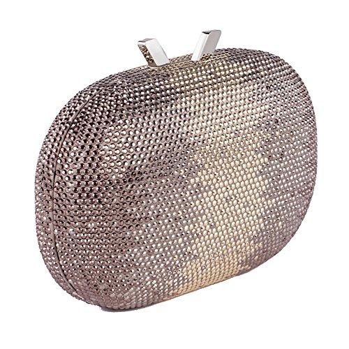 Borsa clutch, Ilda Marrone, in tessuto con pietre