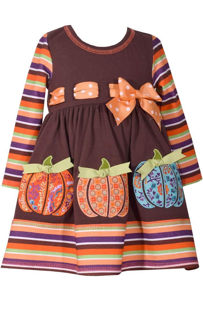 Bonnie Jean Little Girls' Appliqued Dress, Brown Pumpkin Stripe, 6