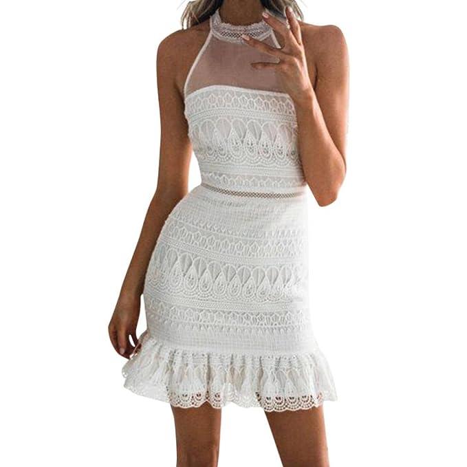 8b53b043db76 Longra Bianco Abito da Sposa Gonna Sexy da Donna in Pizzo Mini Abito  Vestiti Donna Elegante Cerimonia Corti Eleganti Manica Lunga Senza Maniche  Maniche ...