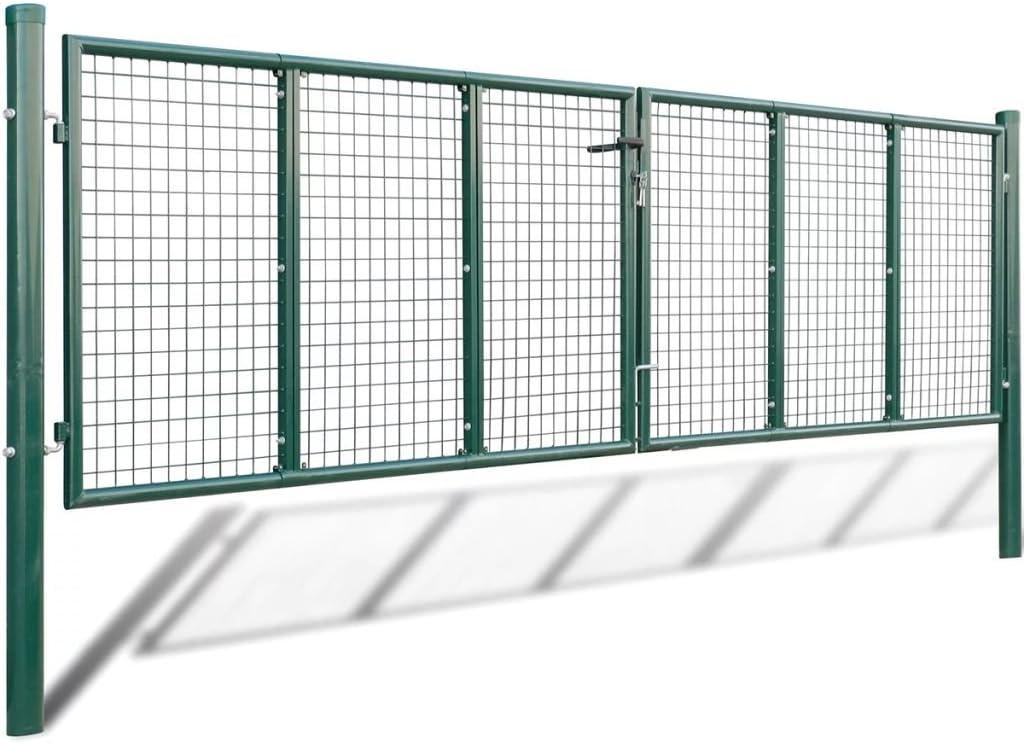 400 x 100 cm Dunkelgr/ün Tidyard Gartentor Zauntor Hoftor Gartent/ür Doppelfl/ügel Tor mit 3 Schl/üssel Verzinkter Stahl mit Pulverbeschichtung 415 x 150 cm