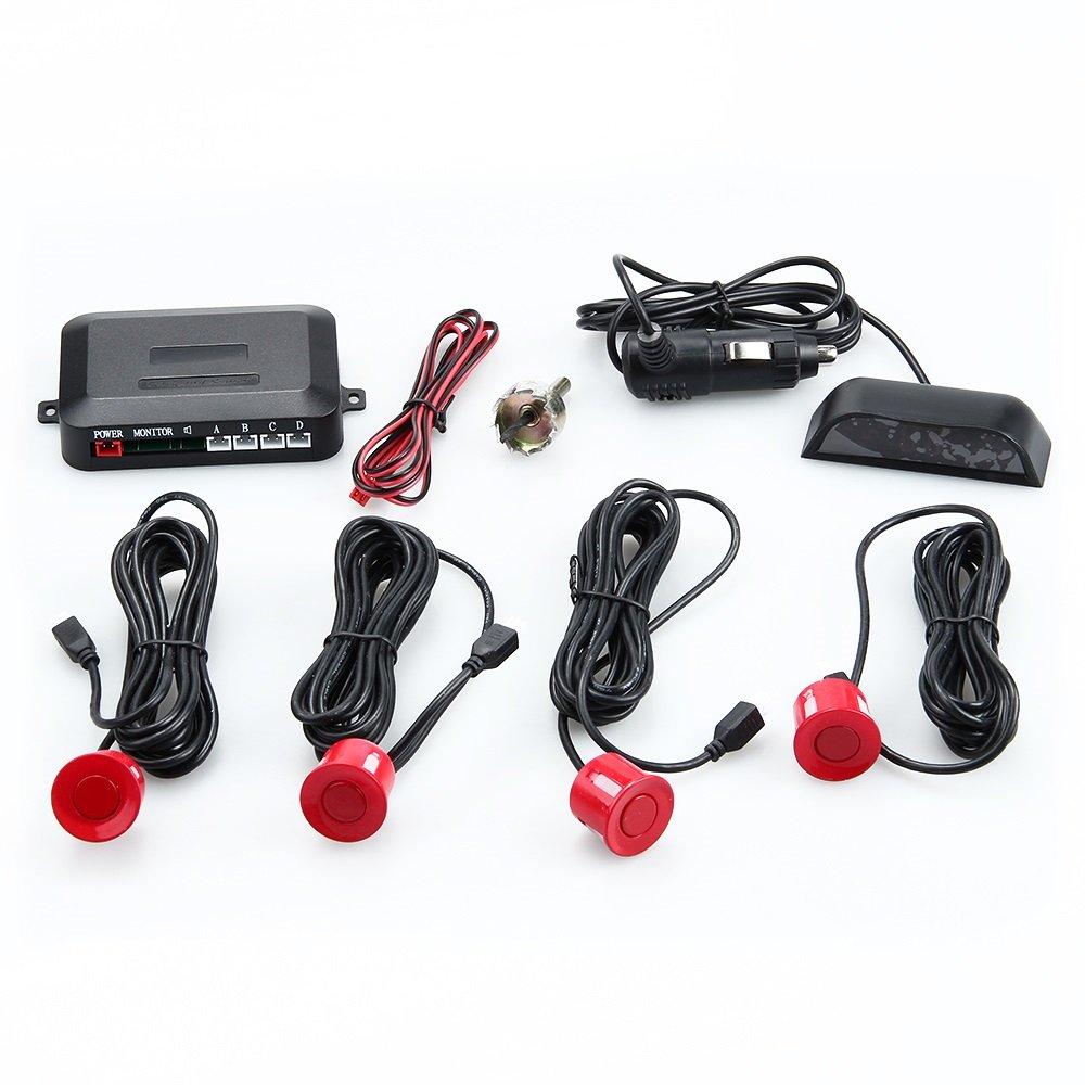 BINODA Display a LED 4 Sensori Sistema di parcheggio auto Rivelatore per auto Retromarcia Backup Radar Sensori Parktronic Wireless 6 colori. Color : Silver