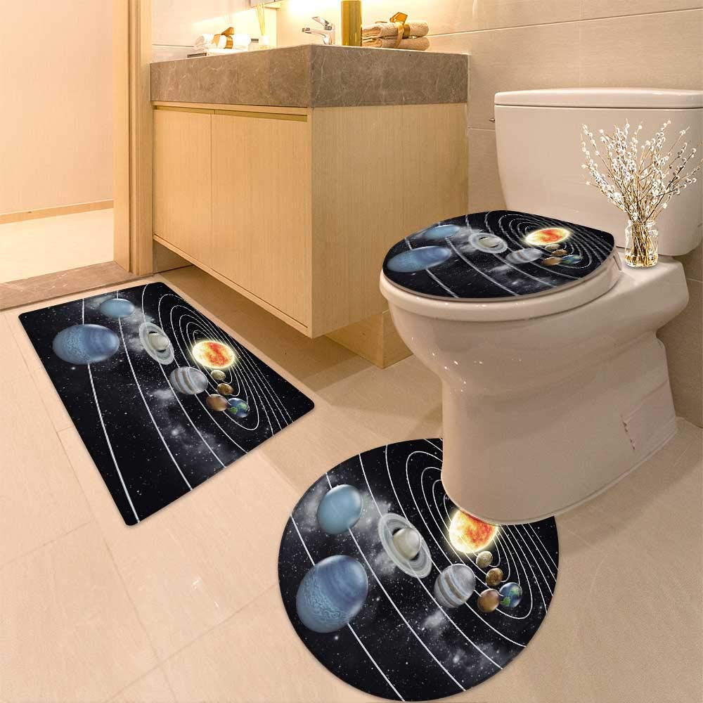 HuaWuhome 3 Piece Shower Mat Set Solar System with Eight Planets Customized