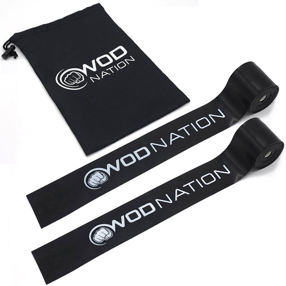 WOD Nation Muscle Floss Bands Recovery Band for Tack and Flossing Sore Muscles and Increasing Mobility - Stretch Band Includes Carrying Case (2 Black - Medium Strength) by WOD Nation