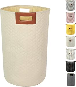 Laundry Basket Large Fabric Laundry Hamper Bags Collapsible Storage Laundry Hamper Foldable Clothes Bag Organization for Bathroom Kids Room (Beige)