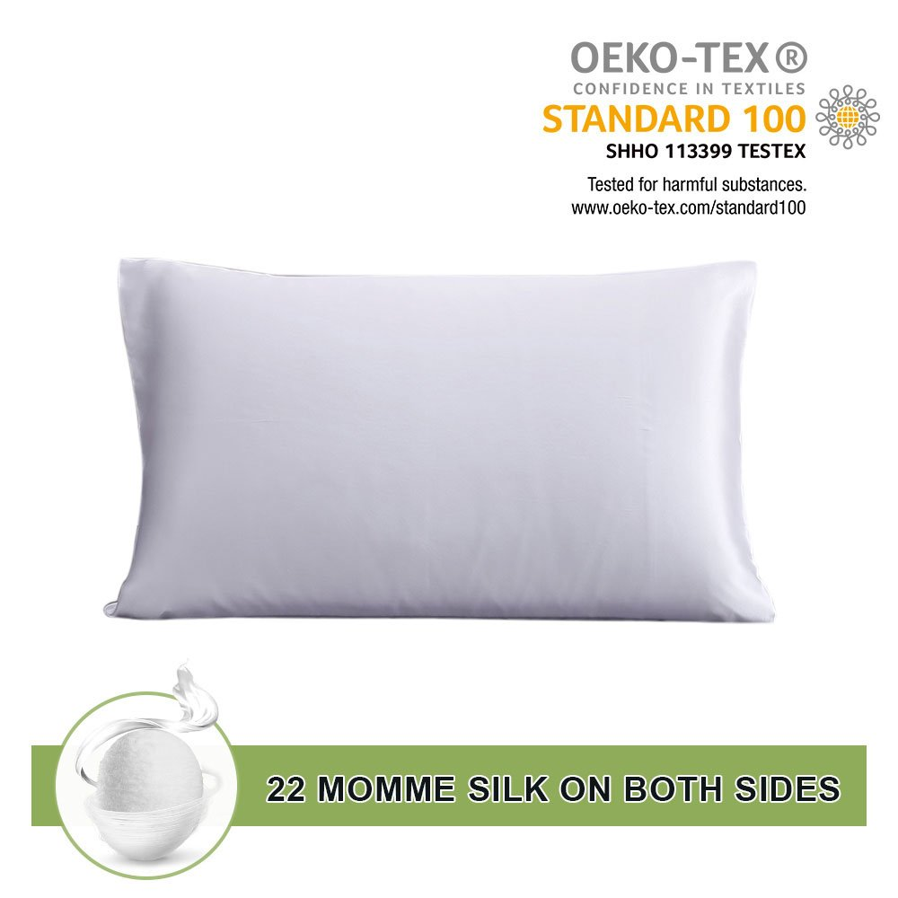 LILYSILK 22 Momme Pair of Terse Silk Pillowcase Mulberry Silk for Hair Charmeuse Hypoallergenic White 20x36 Inch