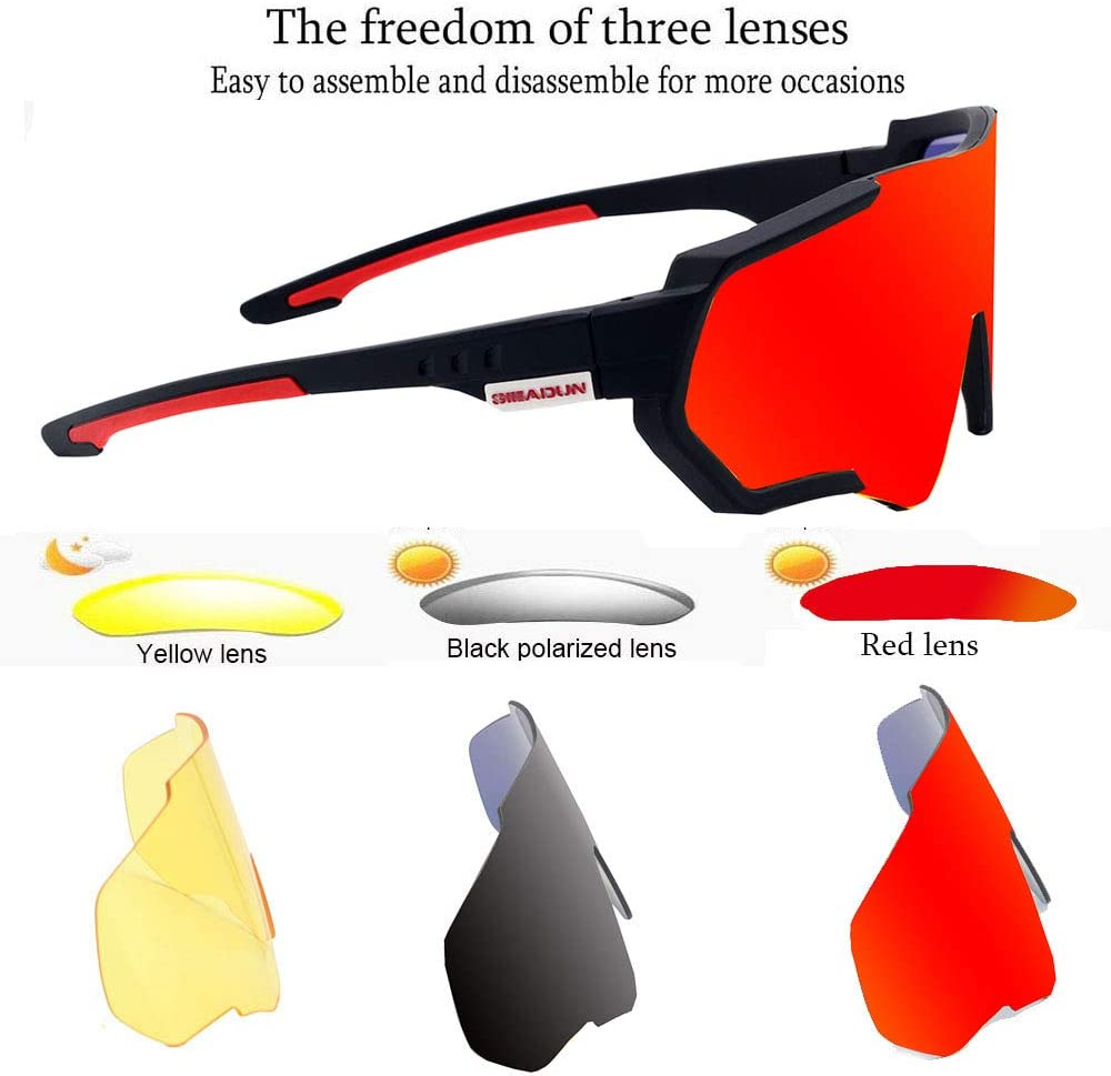 GIEADUN Sports Sunglasses Polarized UV400 Protection Cycling Glasses with 3 Interchangeable Lenses for Cycling, Baseball,Fishing, Ski Running,Golf