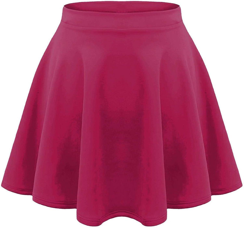 IDEAL ONLINE Kids Girls Children HIGH Waisted Stretch Plain Flippy Flared Short Skater Skirts