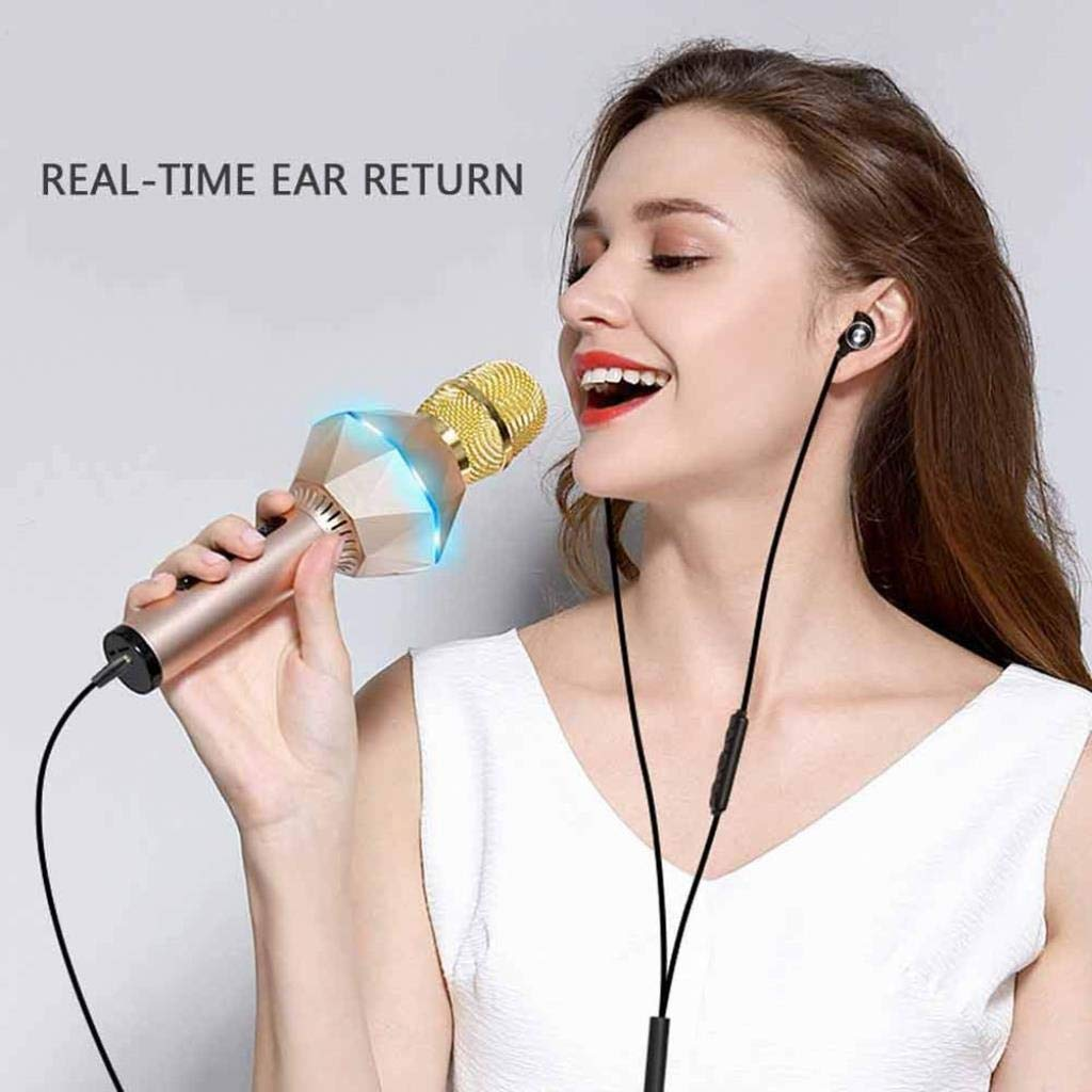 Rsiosle Wireless Bluetooth Karaoke Microphone KTV Speaker Mini Home Mic Microphone Fashion Flash LED Light Hanheld Microphone for Mobile Phone Music Player ( Color : Gold ) by Rsiosle (Image #8)
