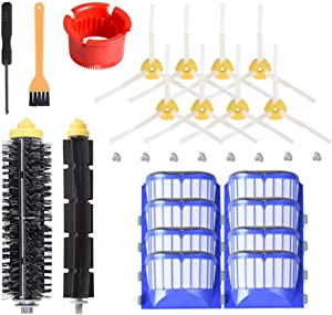Replacement Accessories Kit for iRobot Roomba 600 Serie 595 614 620 630 650 651 652 660 675 680 690(Not for 645 655),8 Filter,8 Side Brush,1 Pairs Bristle and Flexible Beater Brush