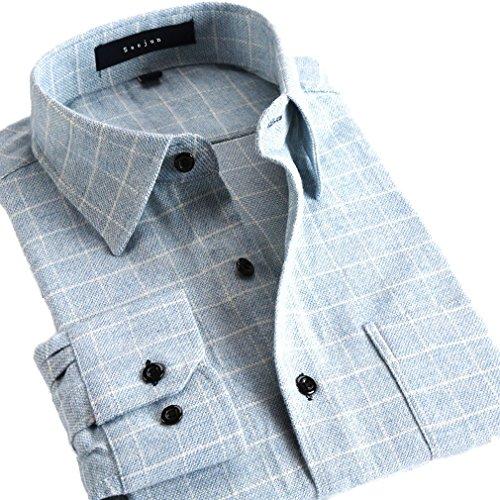 Soojun Mens Plain Long Sleeve Plaid Flannel Dress Shirt Large F23