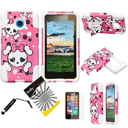 3 items Combo: ITUFFY(TM) LCD Screen Protector Film + Stylus Pen + 2 tone Design Dual Layer KickStand Tuff Impact Armor Hybrid Soft Rubber Silicone Cover Hard Snap On Plastic Case for Nokia Lumia 635 (4.5
