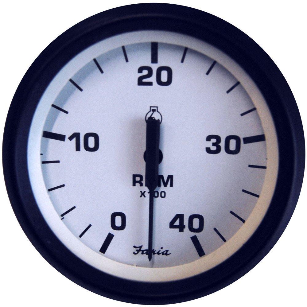 Faria Euro White 4'' Tachometer - 4,000 RPM (Diesel - Mechanical Takeoff & Var Ratio Alt)