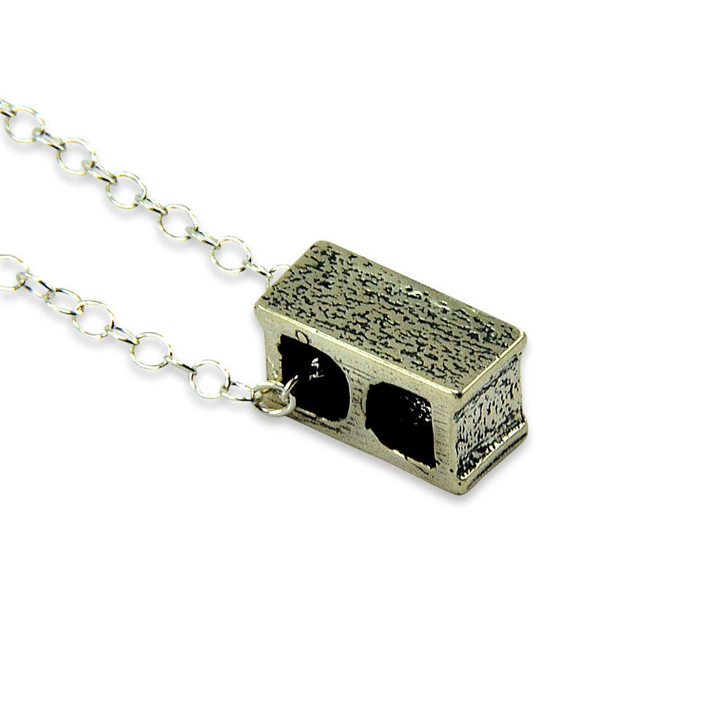 On a Matching 24 Inch Chain Moon Raven Designs Tiny Cinder Block Cinderblock Pendant Necklace -Bronze Silver Plated White Bronze or Sterling Silver