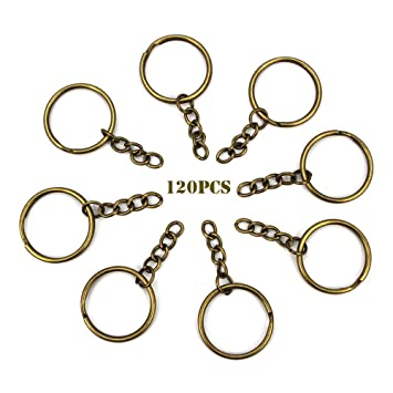 RUBY - 120 Anillas para llavero con cadena, bases de llaveros para artesanía (Bronce, Ø 28mm)