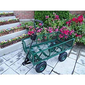 Oakland Living Utility Metal Garden Cart With 500 Pound Capacity