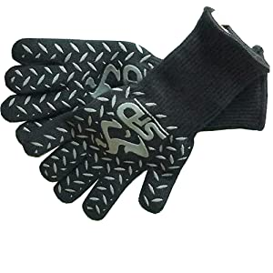 SPD Cooking Gloves Heat Resistant 932°F Extreme High Heat BBQ Grill Gloves Temperature Protection, Oven Mitts, Welders Kevlar Aramid Oven Gloves, Big Green Egg Grill Mitts (Long Cuff, Black)