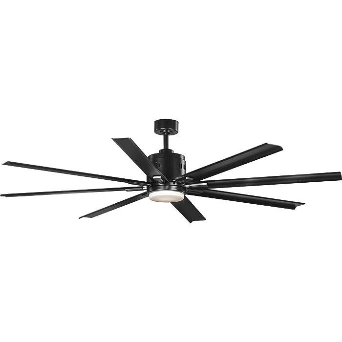 "Progress Lighting P2550-3130K Vast 72"" 18W LED 8-Blade Ceiling Fan, 16-3/4"" x 72"", Black"